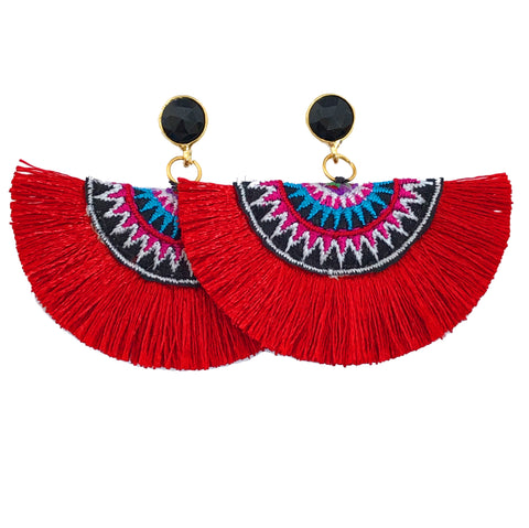 Fan Tassel Earrings - Red