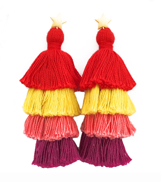 Star & Red/Yellow/Pink/Purple Layered Tassel Earrings