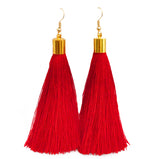 Long Silk Tassel Earrings - Red