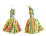 Silver Star & Pastel Multi-Colour Tassel Earrings