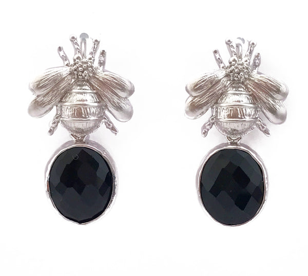 Silver Bee & Pendant Earrings - Black