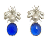 Silver Bee & Pendant Earrings -  Bright Blue