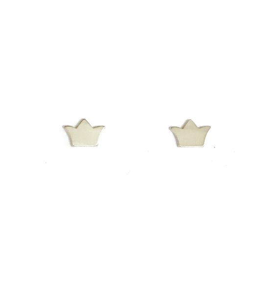 Small Silver Crown Stud Earrings