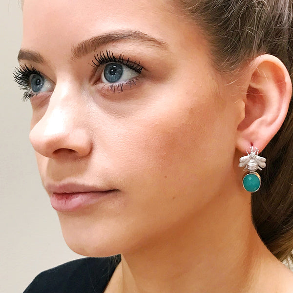 Silver Bee & Pendant Earrings -  Turquoise