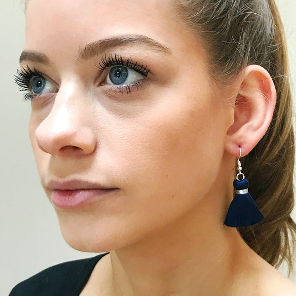 Simple Silver Hook & Tassel Earrings - Navy Blue
