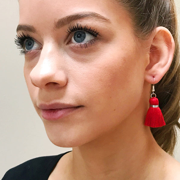 Simple Silver Hook & Tassel Earrings - Red