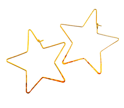 Star Hoop Earrings -  Gold & Silver
