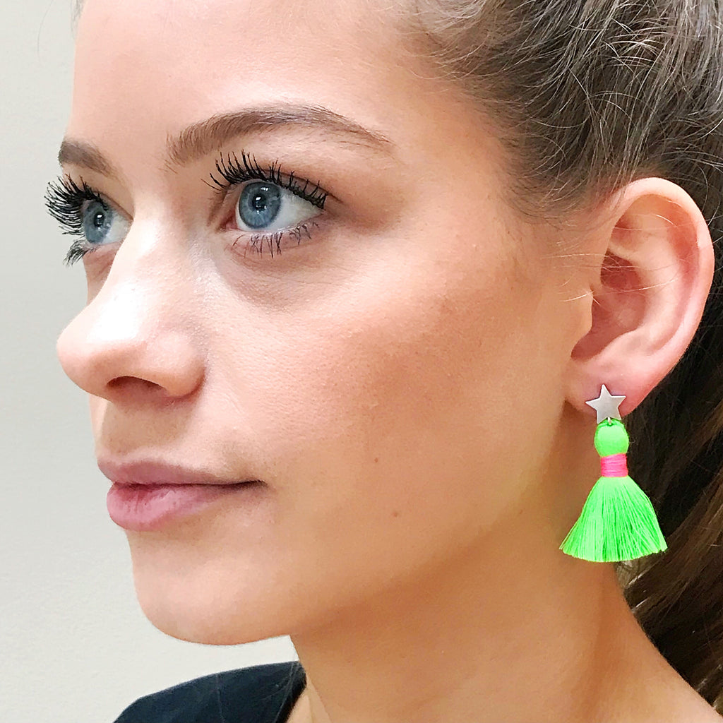 Silver Star & Neon Green Tassel / Pink Binding Earrings