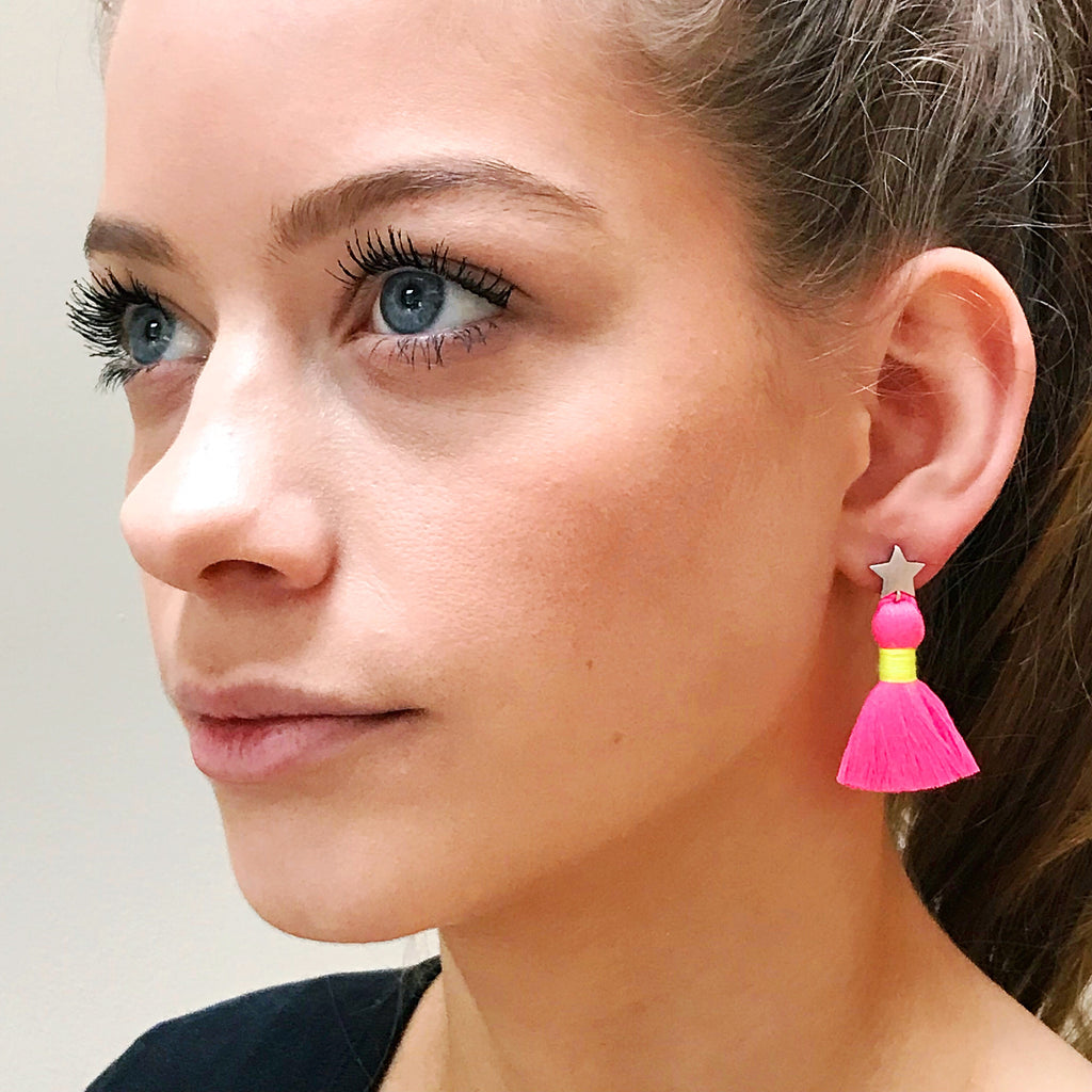 Silver Star & Neon Pink Tassel / Yellow Binding Earrings