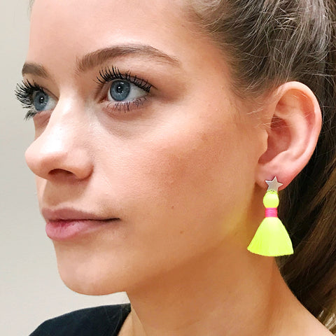 Silver Star & Neon Yellow Tassel / Pink Binding Earrings
