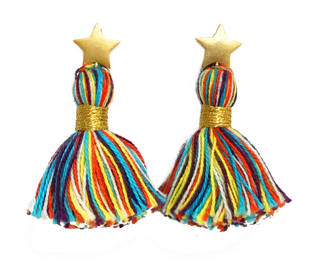Gold Star & Primary Multi-Colour Tassel Earrings