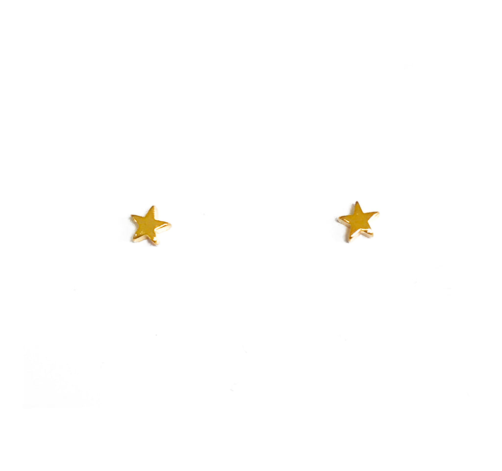 Tiny Gold Star Earring Studs