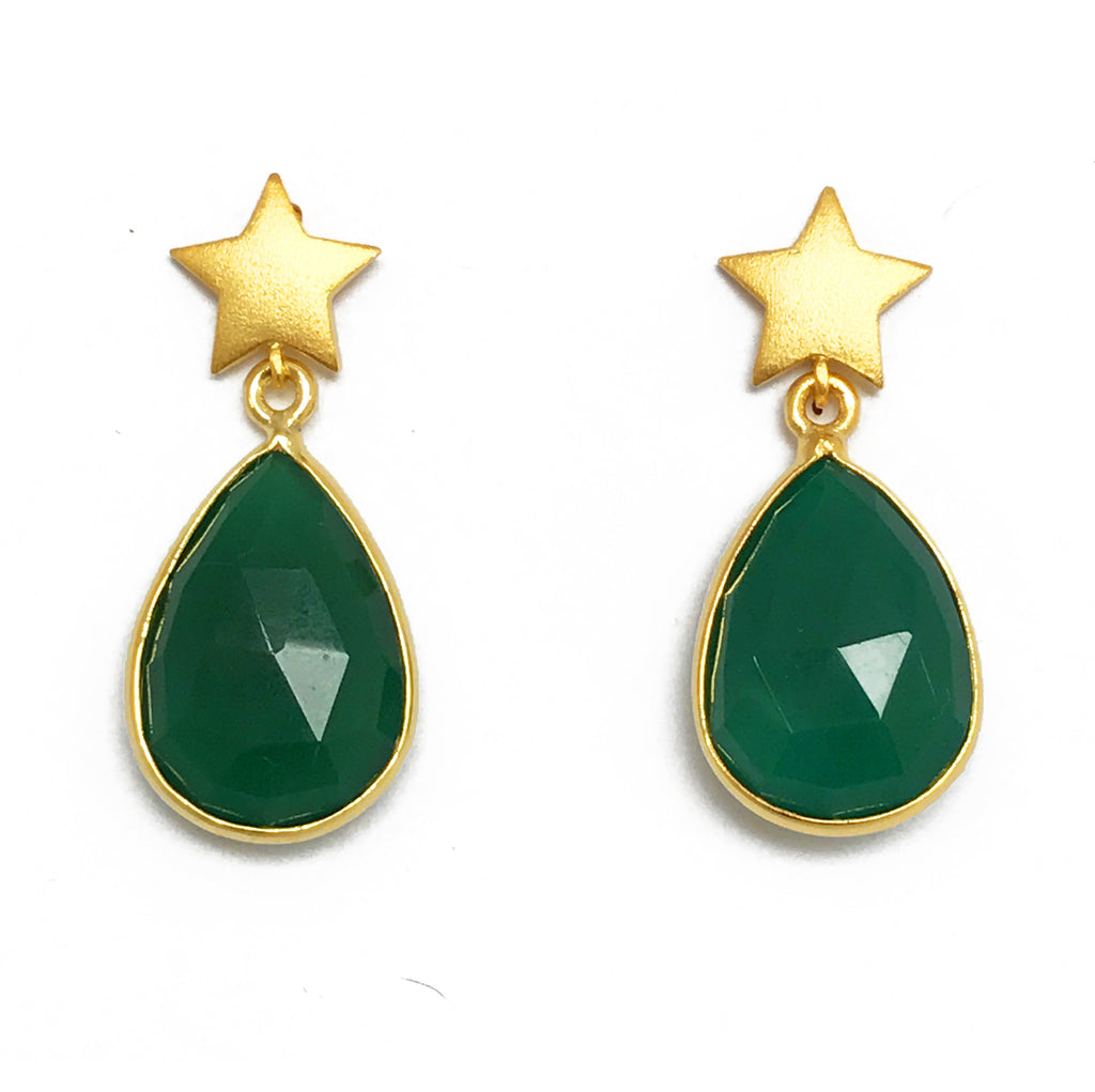 Gold Star & Green Teardrop Stone Earrings