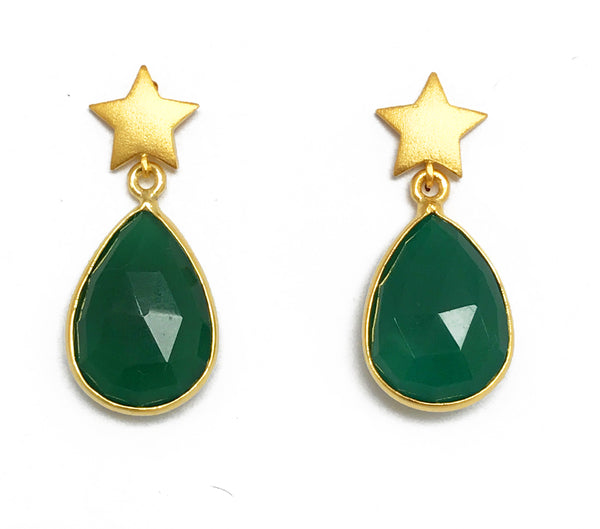 Star & Green Stone Earrings