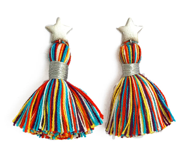 Silver Star & Primary Multi-Colour Tassel Earrings
