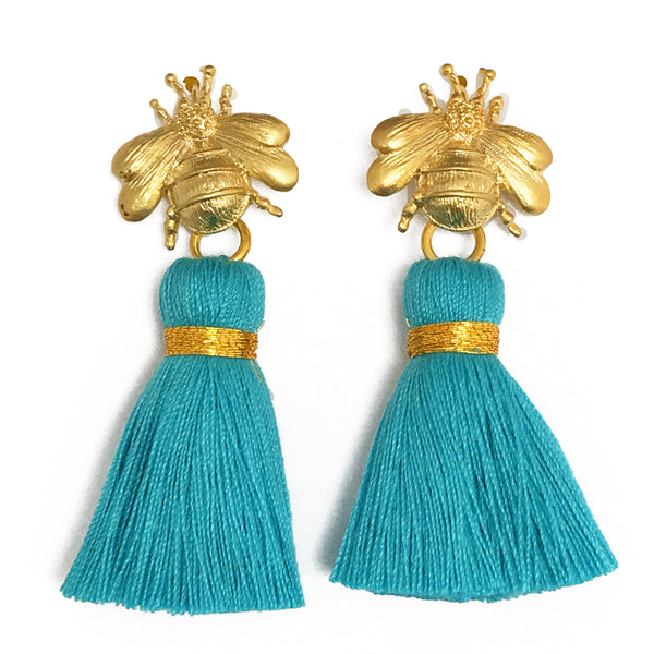 The 'Queen Bee' Tassel Earrings - Turquoise