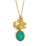 The 'Queen Bee' & Glass Pendant Necklace - Turquoise