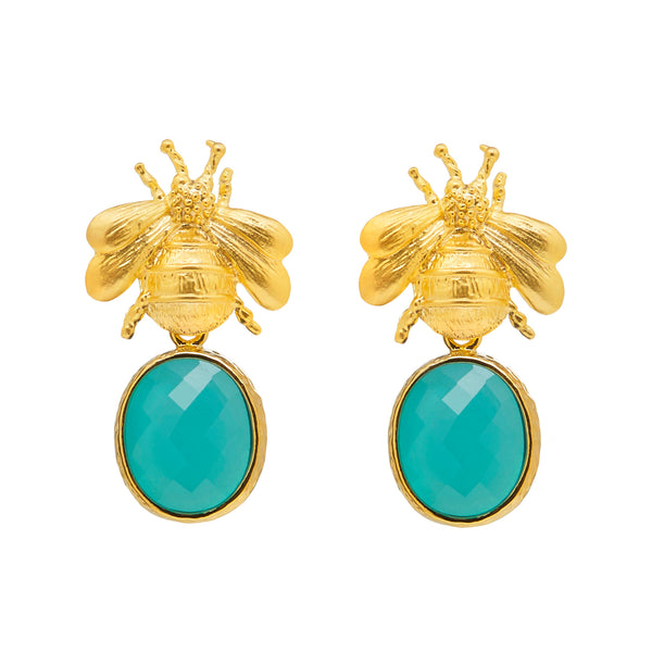 Gold Bee & Pendant Earrings - Turquoise