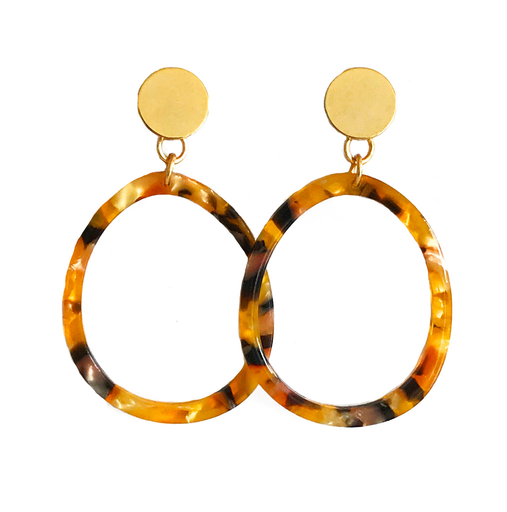 Oval Lucite Earrings - Tortoise