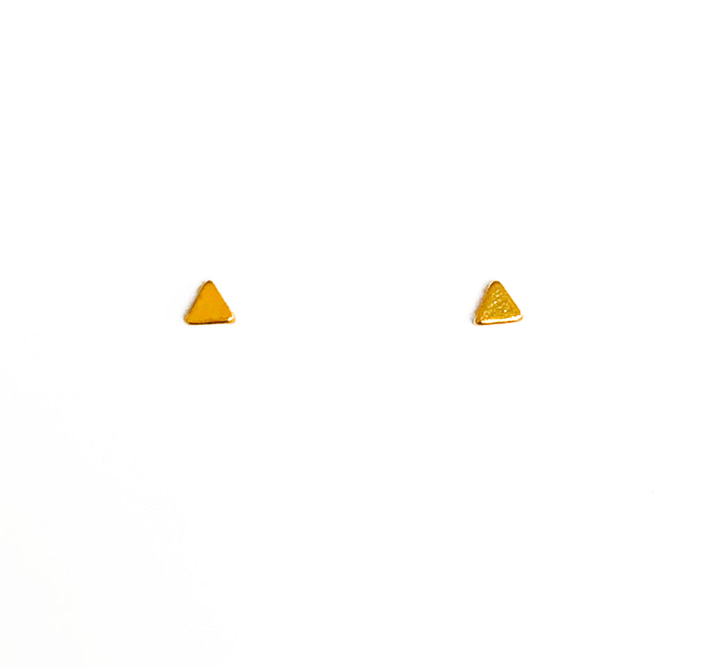 Tiny Gold Triangle Earring Studs