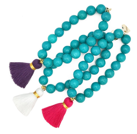 Turquoise Jade Bracelet - Choose a Tassel Colour