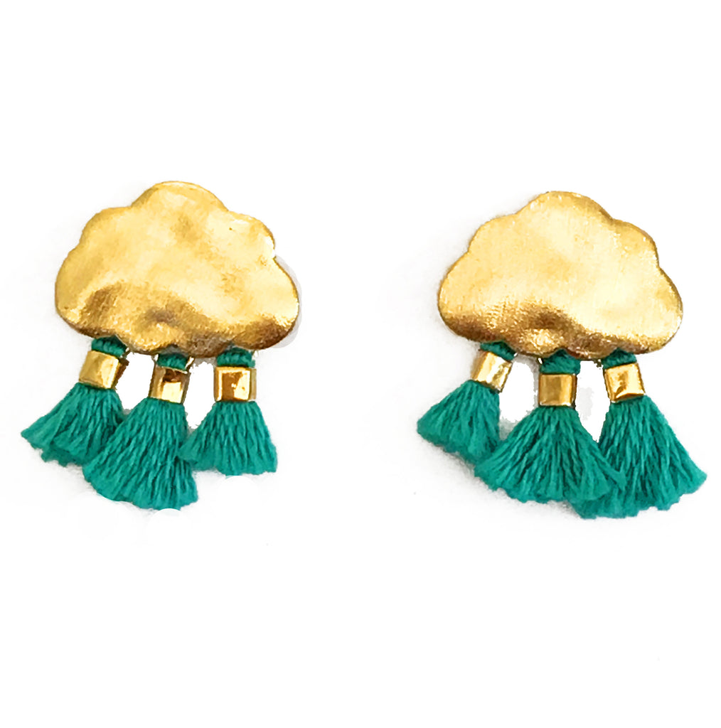 'Every Cloud Has A Tassel Lining' Earrings - Turquoise
