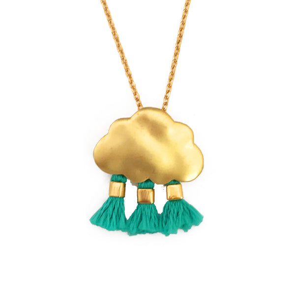 'Every Cloud Has A Tassel Lining' Necklace - Turquoise