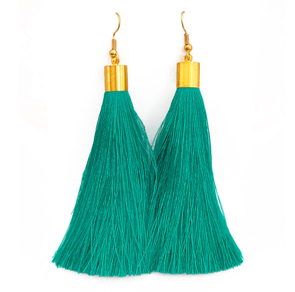 Long Silk Tassel Earrings - Turquoise