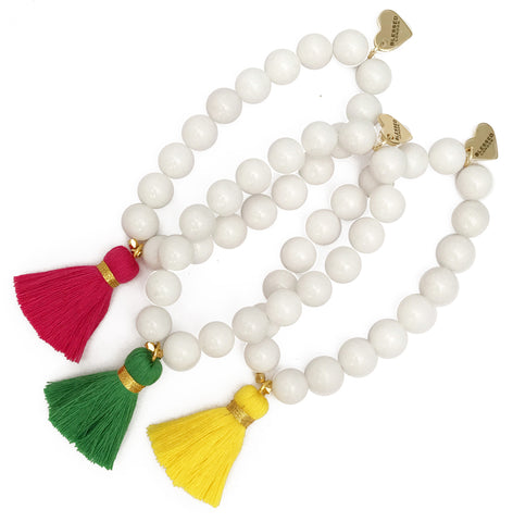 White Jade Bracelet - Choose a Tassel Colour