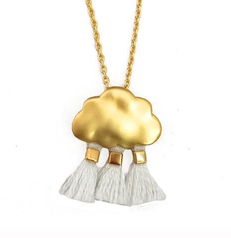 'Every Cloud Has A Tassel Lining' Necklace - White