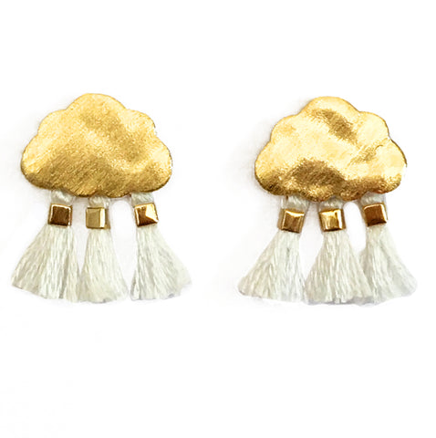 'Every Cloud Has A Tassel Lining' Earrings - White