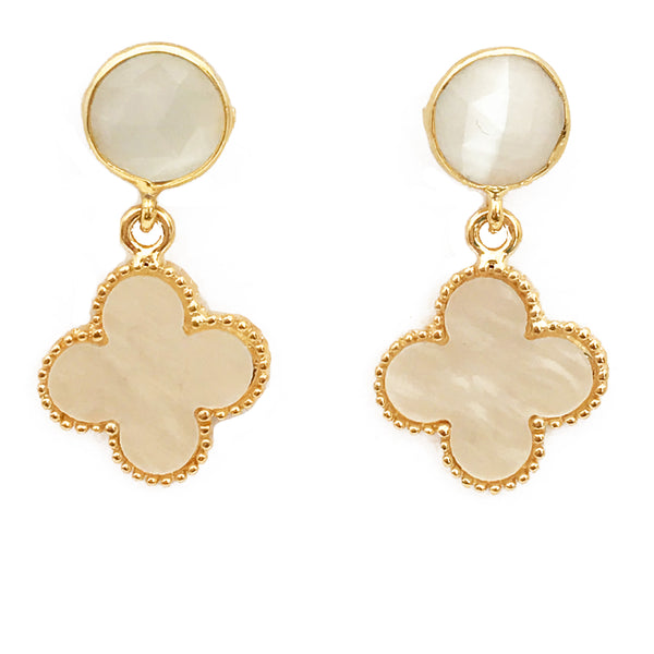 The 'Good Luck Clover' Earrings - White Posts