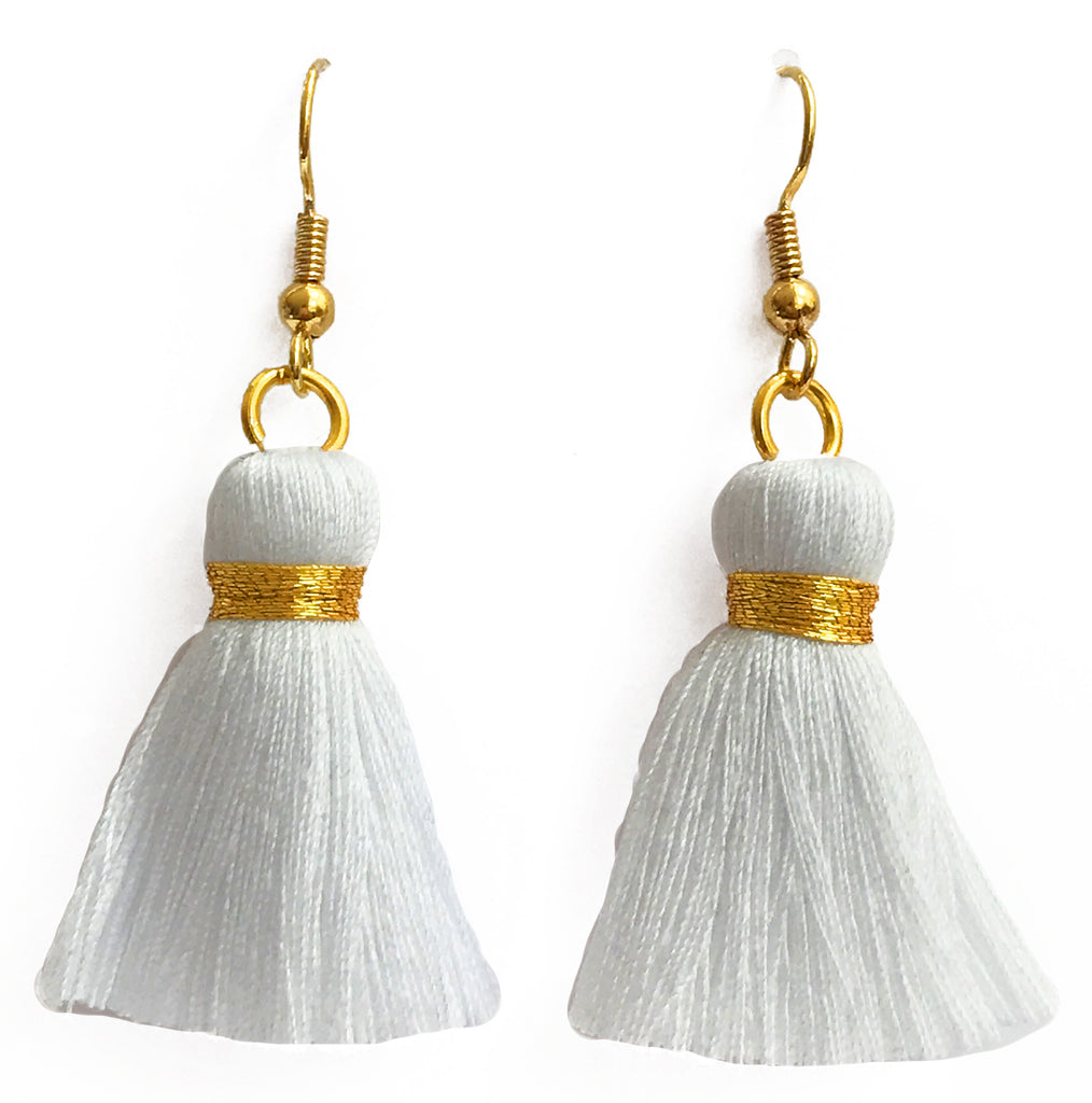 Simple Hook & Tassel Earrings - White