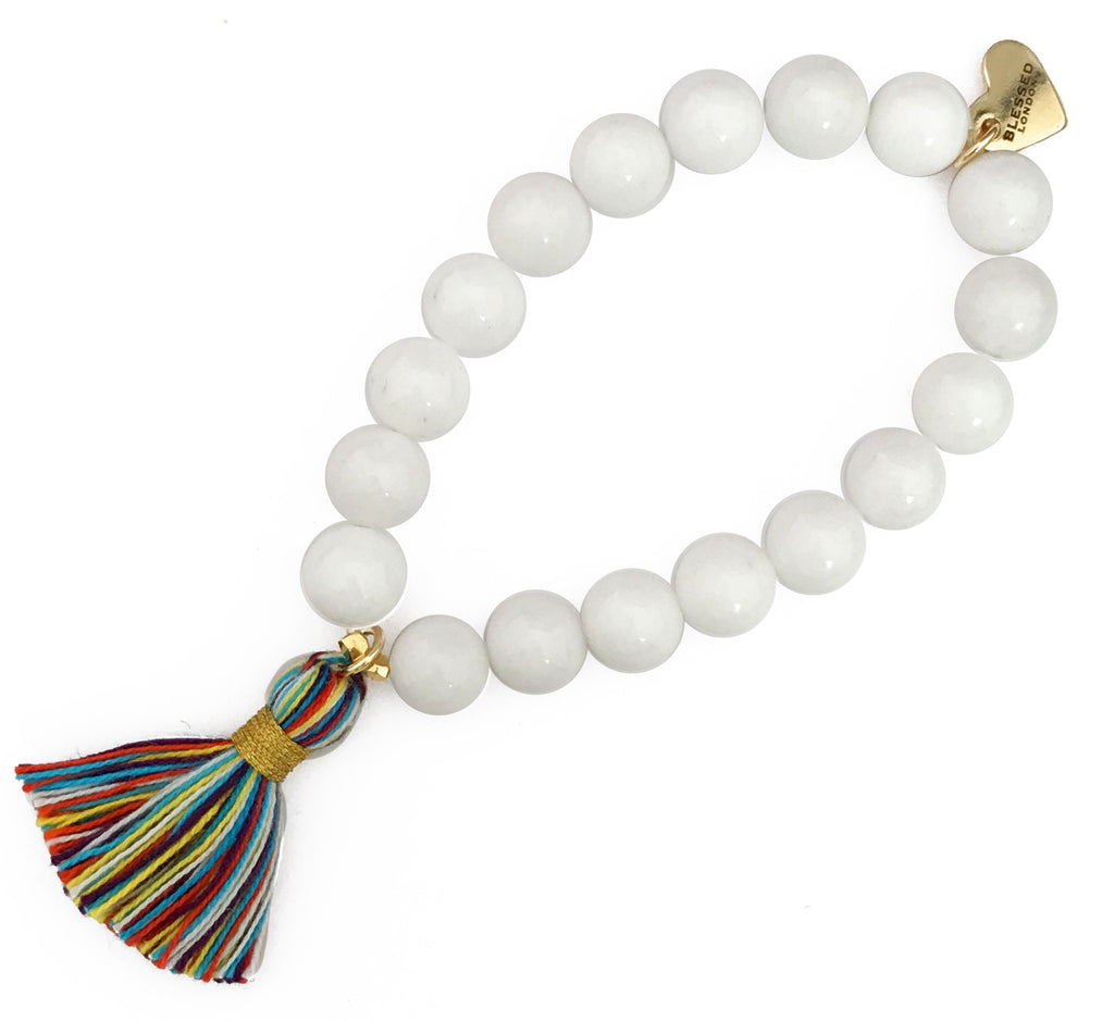 Primary Multi-Colour Tassel Bracelet - White Jade