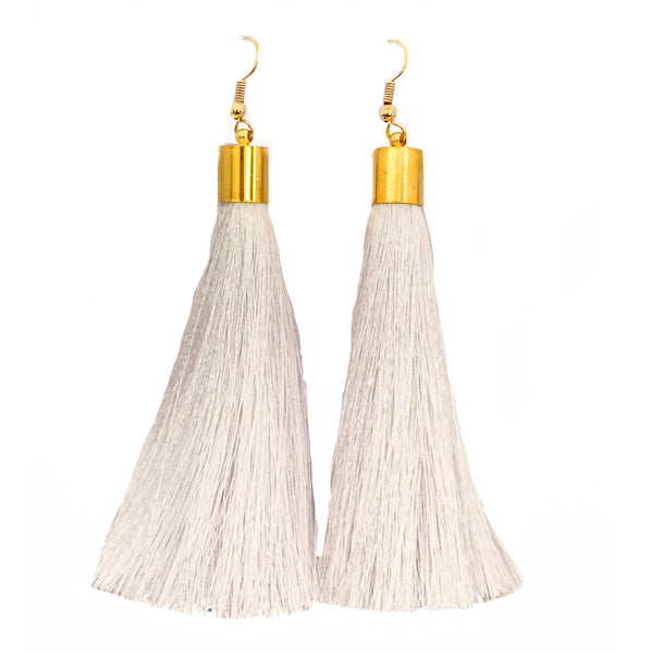 Long Silk Tassel Earrings - White