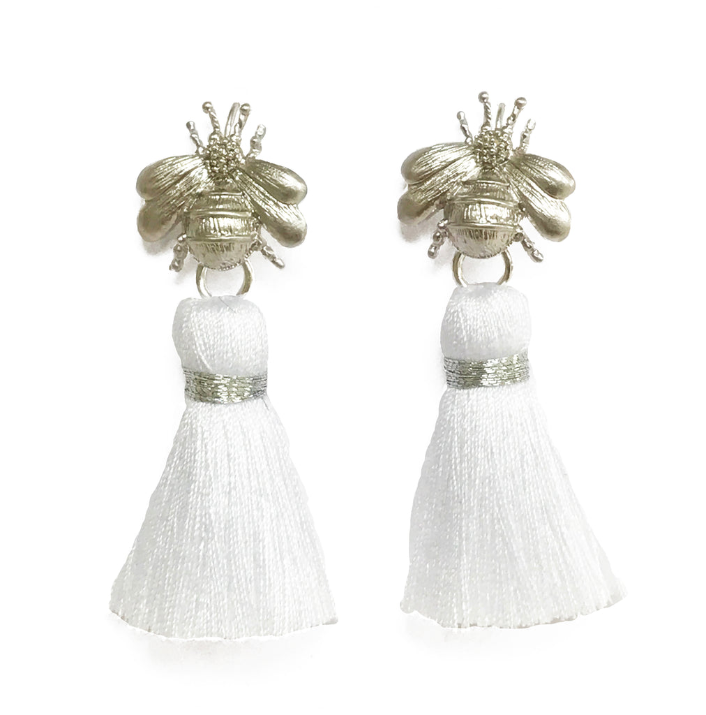 The 'Queen Bee' Tassel Earrings - Silver/White
