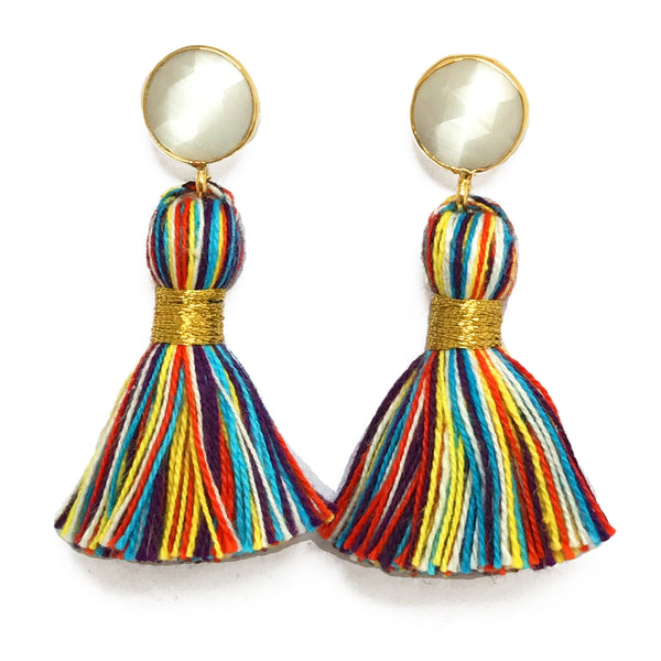White Stone & Primary Tassel Earrings