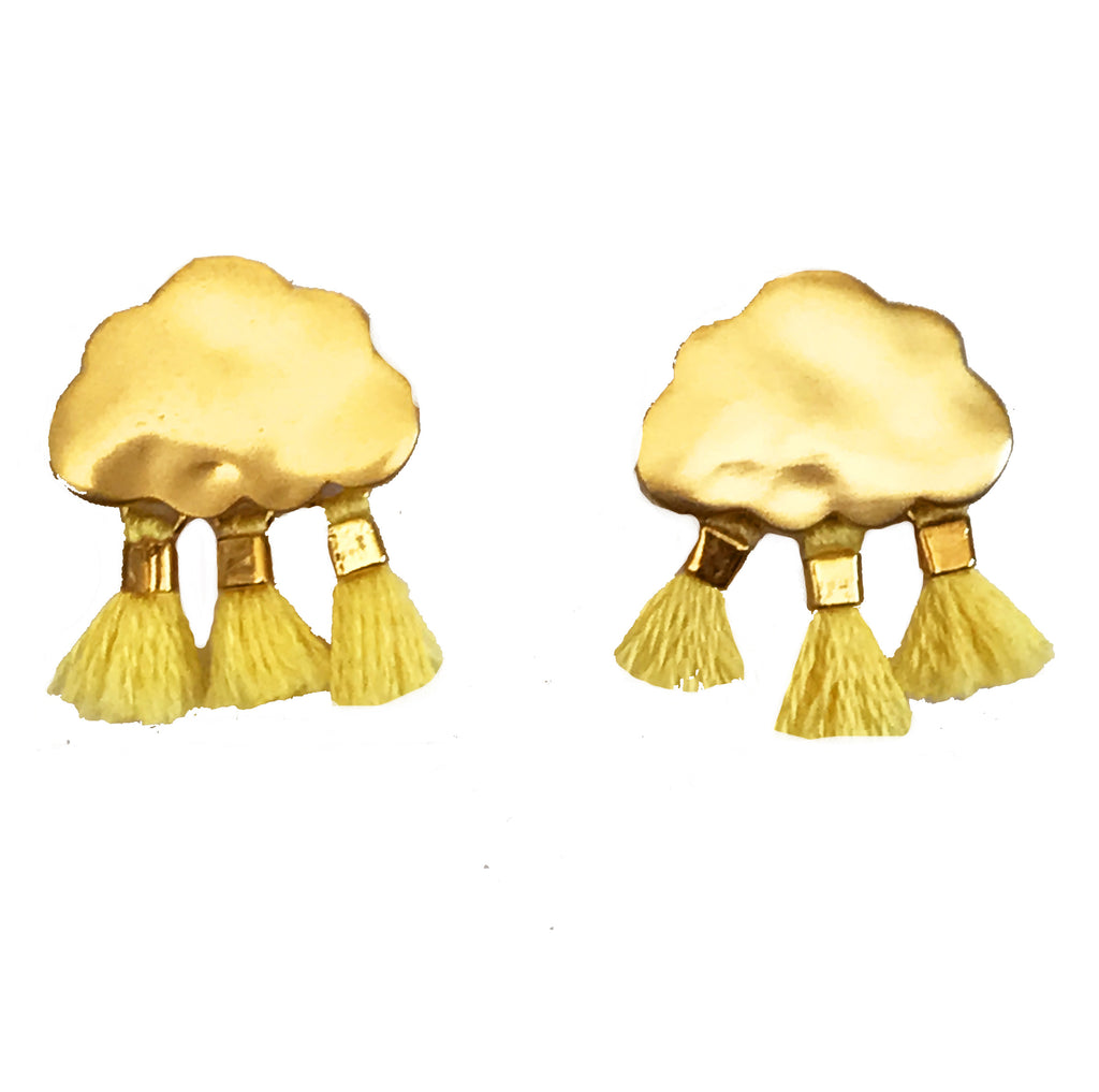 'Every Cloud Has A Tassel Lining' Earrings - Yellow