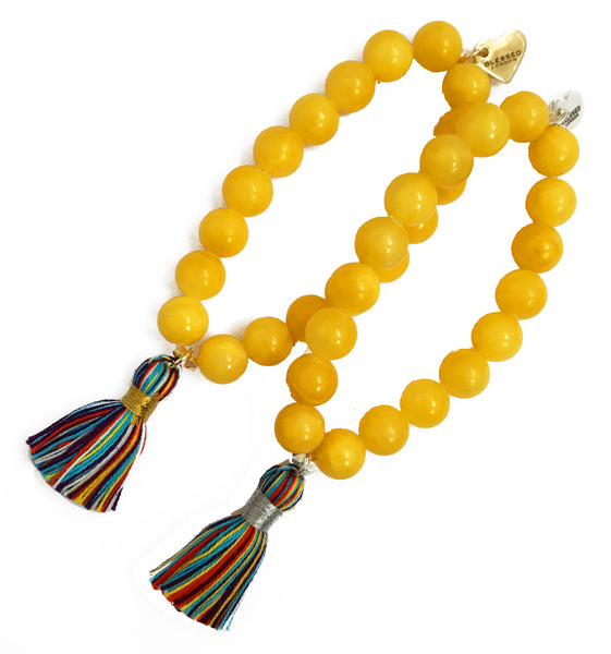 Primary Multi-Colour Tassel Bracelet - Yellow Jade