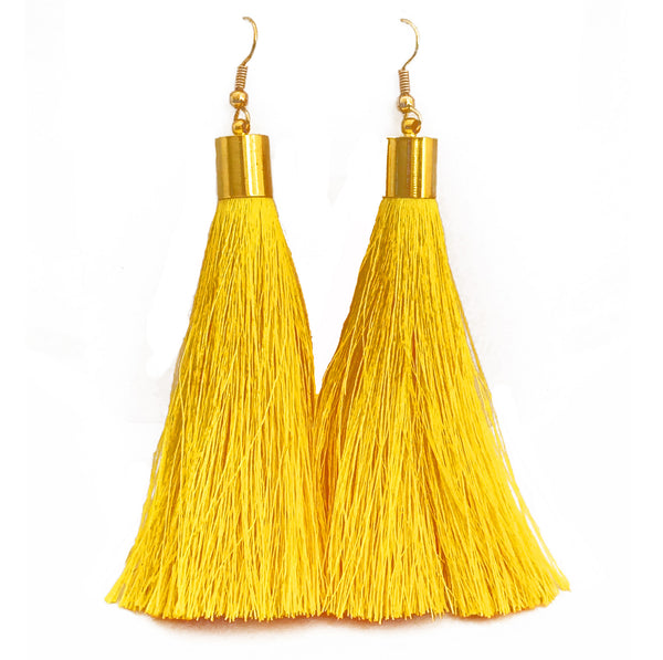 Long Silk Tassel Earrings - Yellow