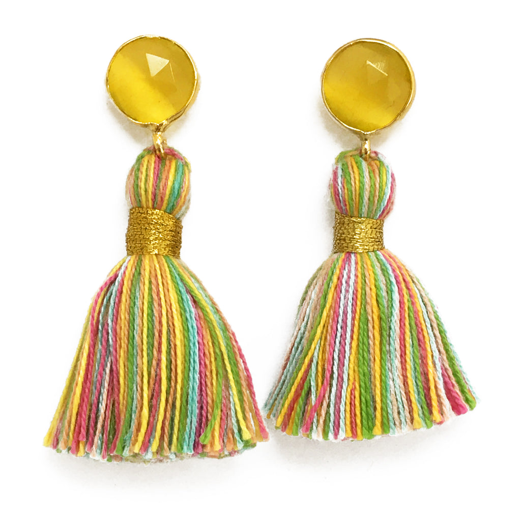 Yellow Stone & Pastel Tassel Earrings