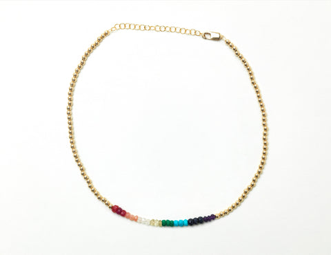 Kids 3MM Yellow Gold Filled Necklace with Rainbow