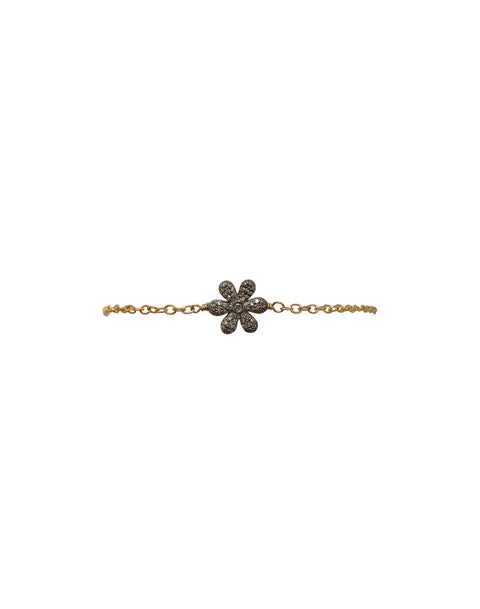 14K Yellow Gold Chain with Oxidized Diamond Pave Flower