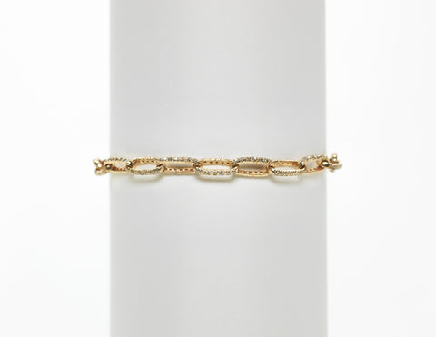 14K Yellow Gold Champagne Pave Diamond Link Bracelet