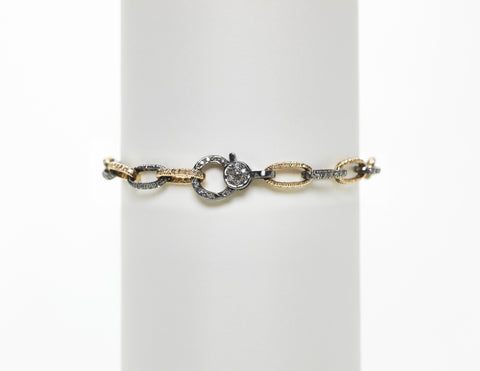 14K Yellow Gold and Sterling Silver Oxidized and Pave Diamond Link Bracelet