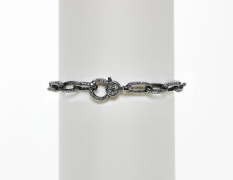 Sterling Silver Oxidized Pave Diamond Link Bracelet