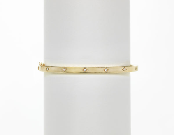 14K Yellow Gold Pave Diamond Star Bangle