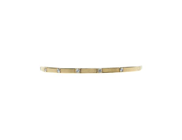 14K Yellow Gold Square Diamond Bangle