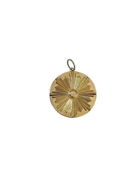 14k Gold with Diamond Medallion Burst Necklace Charm