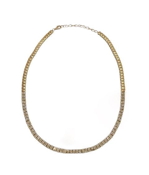 14k Yellow Gold Diamond Square Necklace